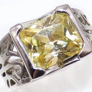 Lia Sophia Silver Citrine Diamond Scroll Ring